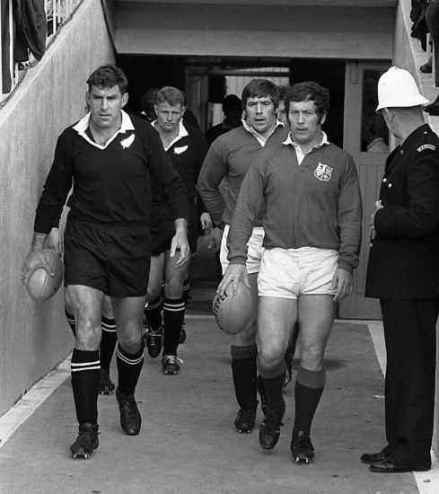AUG. 14th. 2015: The British & Irish Lions captain John Dawes and New Zealand captain Colin Meads leads out their teams for the fourth test of the Lions tour at Eden Park.