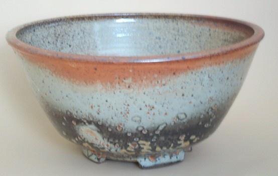 Stoneware bowl, carbon trap shino glaze