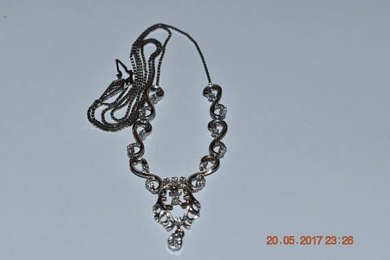 silver 925 ladies necklace with zircon 1960's