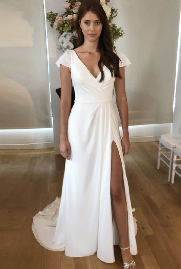 Chic Simple Crepe Wedding Dresses For Minimalist Brides Simple Wedding Dress Casual Simple Wedding Gowns Short Sleeve Wedding Dress