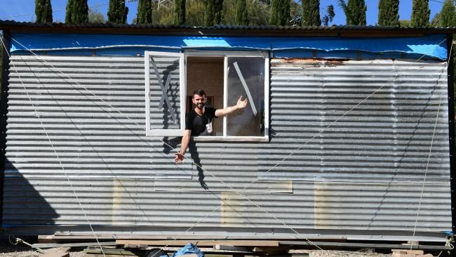 The home, built from recycled materials, is building-code compliant and council-approved. Picture: Mark Brake
