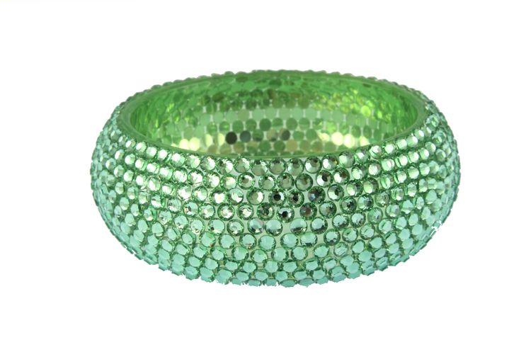 Pale green crystal effect bangle available from WWW.GlitzyGlamour.co.uk