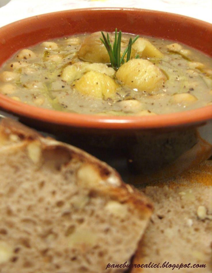 Pane, burro e alici: Zuppa di ceci e castagne (e pane di castagne alle noci)