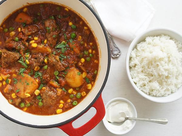 Slow cooked lamb casserole in a tomato based sauce.