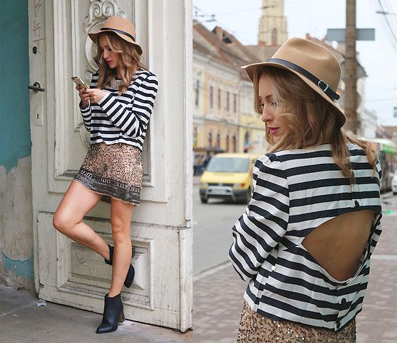 Super chic. <3  [Fron Rowshop Hat, Zara Skirt, Asos Blouse, Martof China Boots]