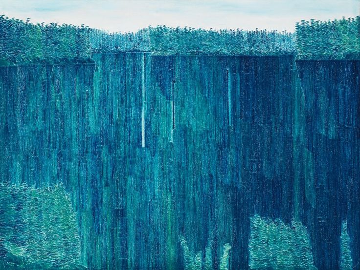 Kazuo Nakamura (Canadian, 1926-2002), Blue Reflections, 1965. Oil on canvas, 34 x 45 in.