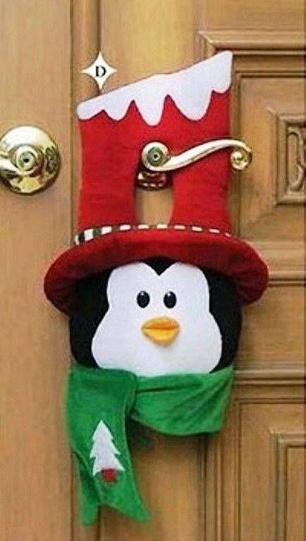 Moldes para picaporte navideño con Pingüino