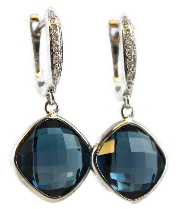 Marilyn London Blue Topaz Diamond Earrings
