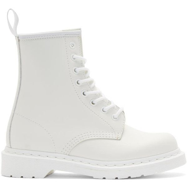 Dr. Martens White Leather 1460 Boots (€120) ❤ liked on Polyvore featuring shoes, boots, white, round cap, rounded toe boots, ankle length boots, genuine leather boots and white shoes