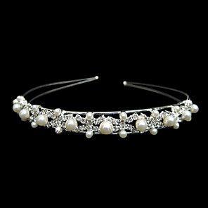 vackra kristaller och pärlor imitation bröllop brud tiara / huvudstycke / huvudband