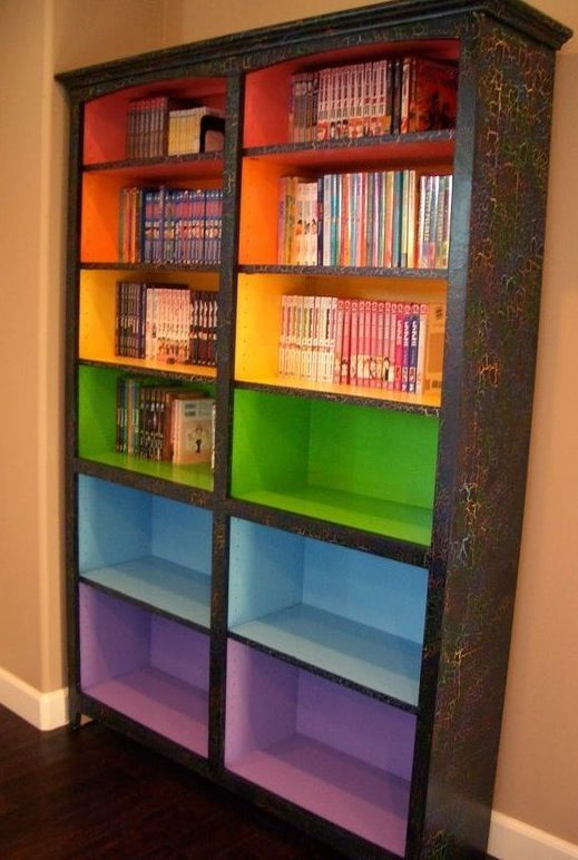 I would like to have this in my classroom and it would serve as a bookshelf, but the colored shelves would each represent a different reading level. This would allow students to pick books that are on their level.