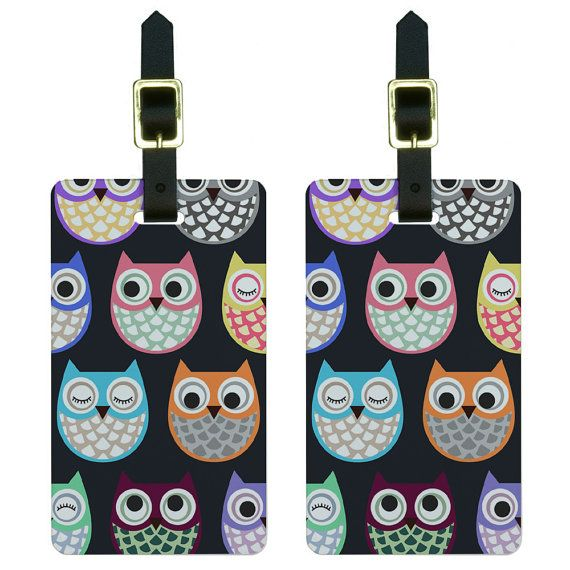 Cute Owls  Owl Pattern Luggage Tags Suitcase by GraphicsMore