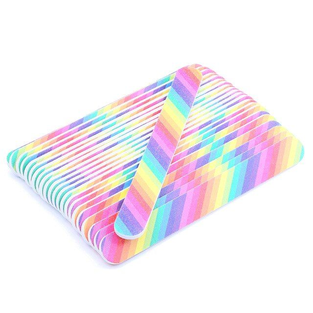 Rainbow Nail Files Professional For Manicure 100 180 Nail File Disposable Manicure Tools Nail Files 5 Pcs Lot Review Rainbow Nails Manicure Manicure Tools