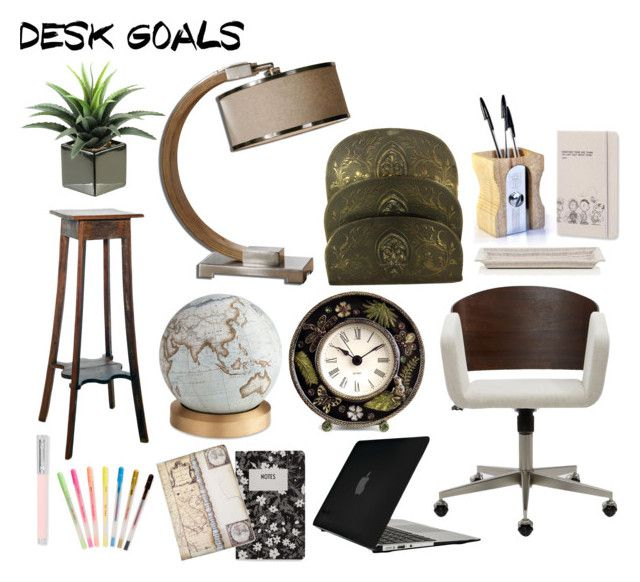 Desk Set by mountain-girl-lynn on Polyvore featuring interior, interiors, interior design, home, home decor, interior decorating, Bellerby & Co, Faber-Castell, Design Letters and Barneys New York
