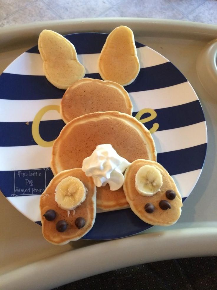 Too cute! Bunny pancakes. | Cute idea for Easter breakfast for the kiddos!