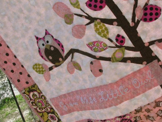 Owl baby girl quilt of flannel & cotton in pink, chocolate brown, sage, white with tree. $130.00, via Etsy.