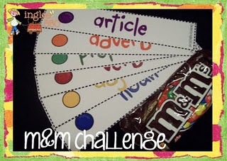 Give students M&M bags. Each color = part of speech. Color pattern strips - students must create a sentence following the patterns.