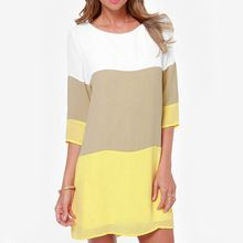 Vestido recto, verano Vestidos mujeres mujer marca Casual Desigual de Color caqui blanco bloque de Color amarillo ls * E3412(China (Mainland))