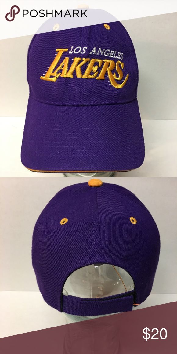 Lakers cap LA Lakers Adjustable Fit Hat. The cap features an embroidered Lakers logo on the front as well as the back. Woven fabric. cap Accessories Hats