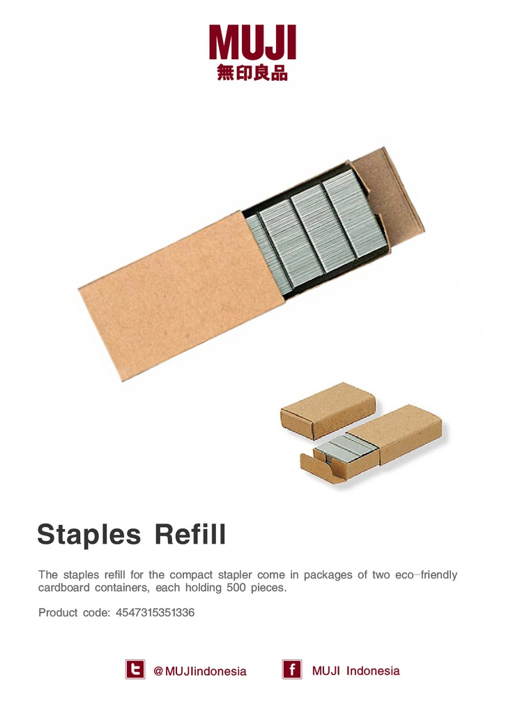 MUJI staples refill for the compact stapler come in packages of two eco-friendly cardboard containers.