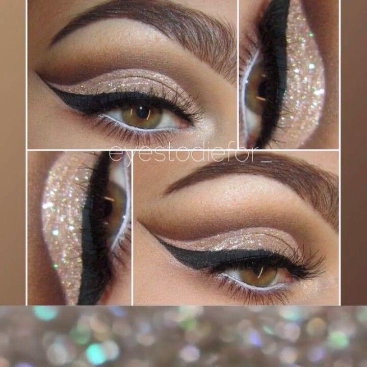 Glitter neutral cut crease