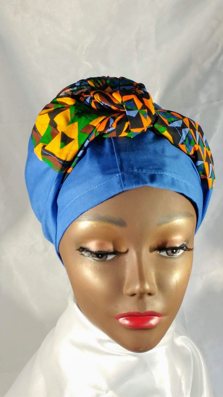 African Inspired Handmade Batik Global Head Wrap Turban Hair Scarf Hat for Women   – Captivating Kinky Coily Hair