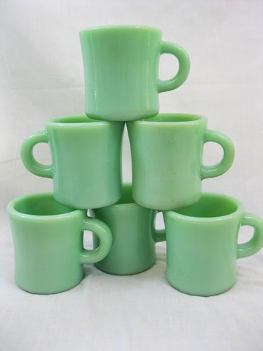 Vintage Anchor Hocking 6 Fire King Jadeite Jadite Extra Heavy C Handle Mug G212 | eBay
