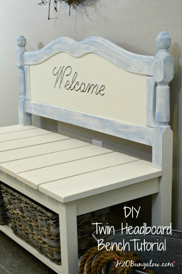 DIY twin headboard bench tutorial to build a bench with a shelf for baskets or storage includes good DIY building tips to make the project easy.