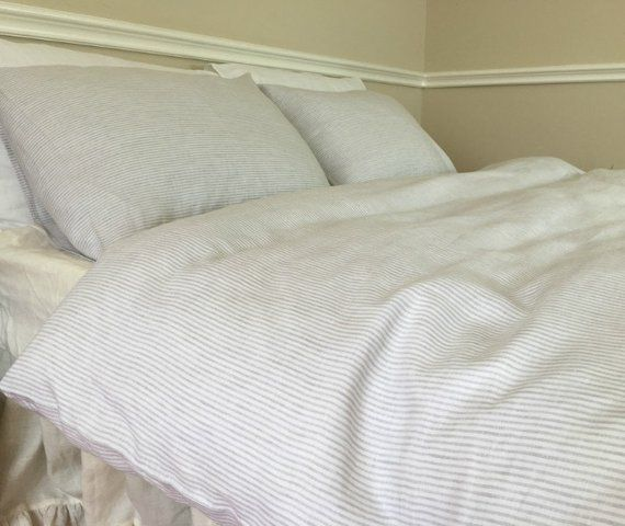Stone Grey And White Ticking Striped Linen Duvet Cover Grey Etsy In 2021 Linen Duvet Cover Grey Striped Duvet Covers Striped Bedding