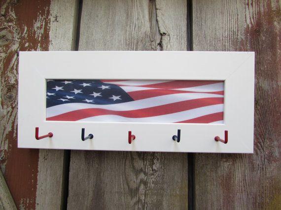 #American #Flag #Keyholder, #custom #key #holder, #Red #White #Blue, #Patriot #Keyhook for Wall, #White #Frame, #Wood key hooks, #wooden keyholder #etsy #greatfindsonetsy #USA #flags #redwhiteandblue #americanflag #wallmountedkeyholder #keystorage
