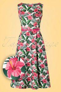 50s Hepburn Hawaiian Flowers Swing Dress in Ivory White
