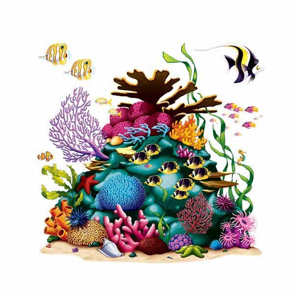 Complete your under-the-sea party with the Coral Reef Scene Setter Add-On! This colorful coral reef features a swarm of sea life and measures 63 inches by 63 inches.