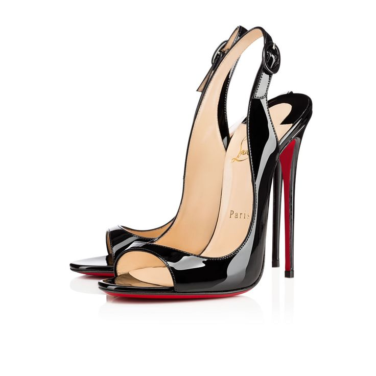 """""""Allenissima's"""" seductive silhouette is owed to her flirtatious peep toe, slingback, and jaw dropping 130mm stiletto heel. Test the air at a higher elevation in this sexy black patent leather stunner."""