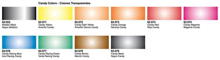 Oferta en pintura al agua Vallejo Premium para aerógrafo. Colores Candy - Transparentes. 5ª unidad a mitad de precio.