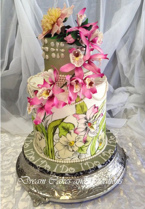This is the remake (flowers) of my original orchids cake ...