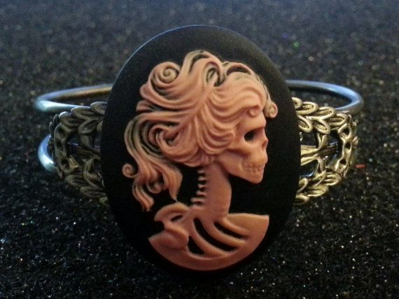 Skeleton, skull, lady skeleton, skull cameo, lady cameo, skull cuff, skull bracelet, cameo cuff,lady skeleton ,victorian