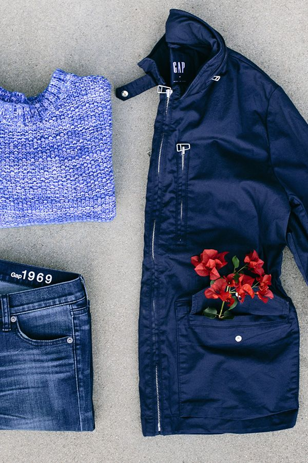 This season our style motto is casual-cool. We love this combo of a marled crew, light denim, and hooded utility jacket. Get this spring Gap look worn by Jenny Slate in Episode 6 of our Instagram series.