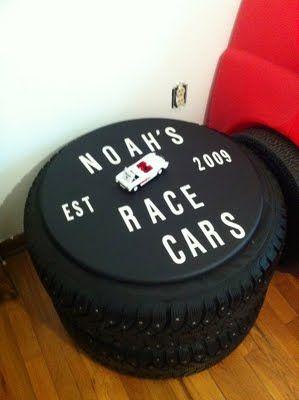 car tyres stacked with base www.houseonashwelllane.blogspot.com #toys #organization #storage