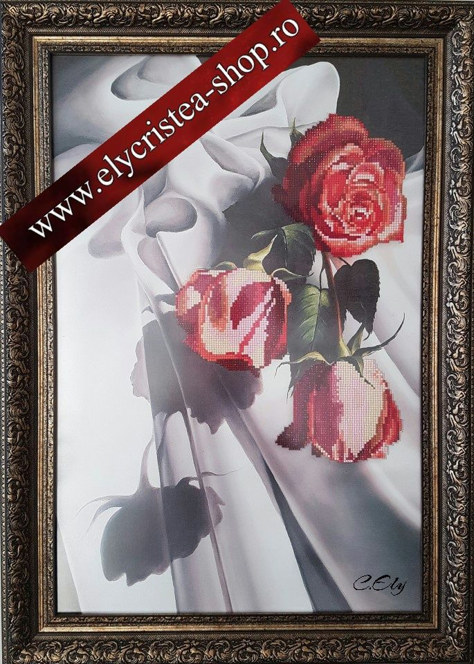 Trandafiri - Broderie mosaique - 40 x 60 cm fara rama ( + Rama, Sticla antireflex ) 240 Euro
