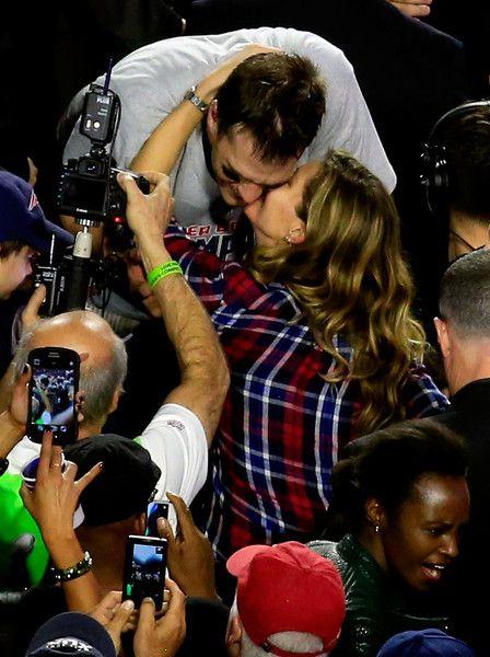 Tom Brady and Gisele Bundchen celebrate the New England Patriots' big win.