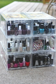 $15 Nail Polish Storage Cubes, actually made for shoes and can be used to organize anything
