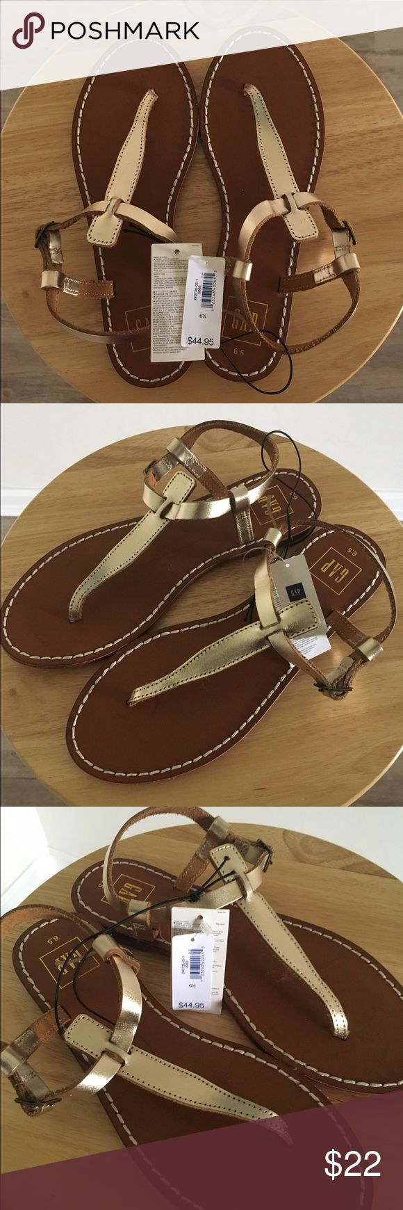 NWT Gap Women's Gold Leather Thong Sandals 6.5 M New with tags! Gap women's gold leather T-strap thong sandals with adjustable buckle. Size 6.5 M. True to size. GAP Shoes Sandals