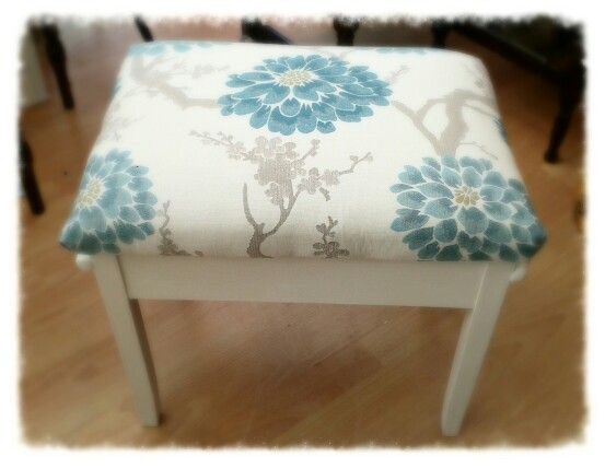Piano Stool in Annie Sloan Old White chalk paint u0026 upholstered in a lovely fabric with & 9 best Piano stool images on Pinterest | Piano stool Piano bench ... islam-shia.org