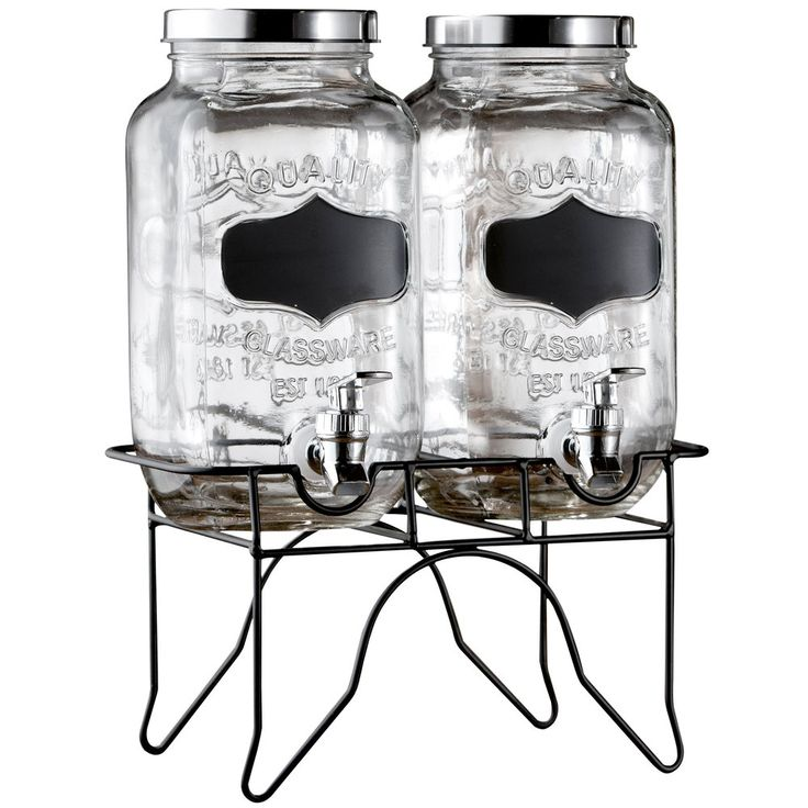 (2) 0.8 Gallon Style Setter Blackboard Glass Beverage Dispenser with Metal Stand