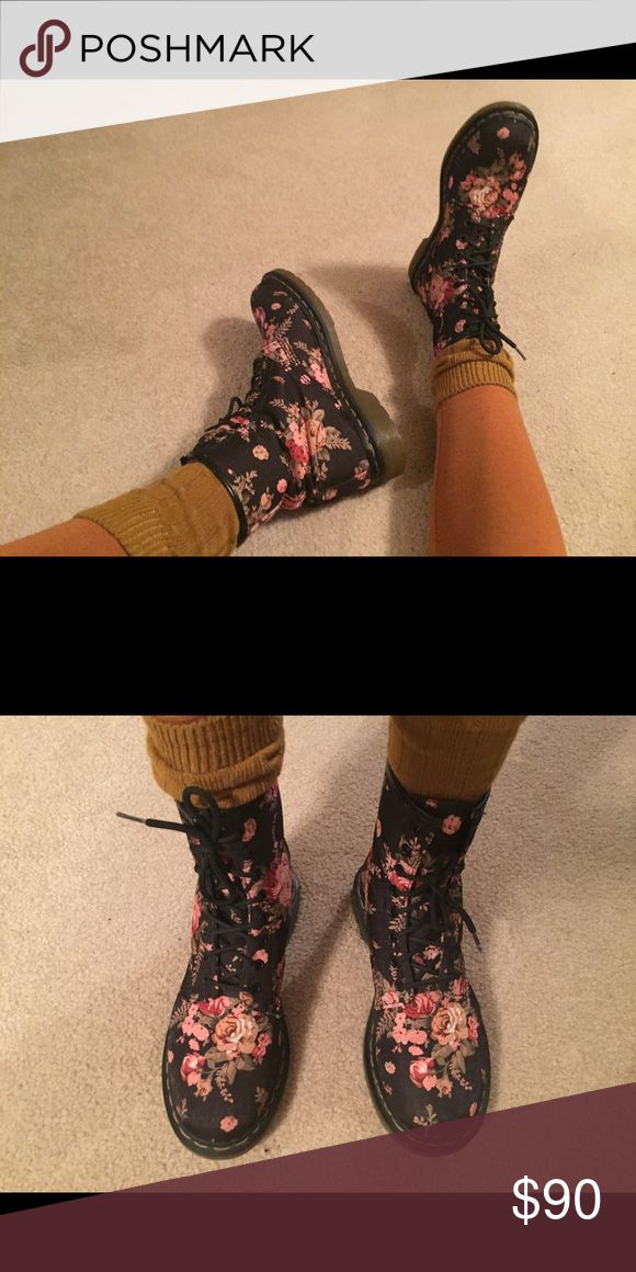 Doc Marten's Floral print only worn a couple times! Really comfortable material, will not cause feet to hurt when wearing them in! Doc Marten's Shoes Lace Up Boots