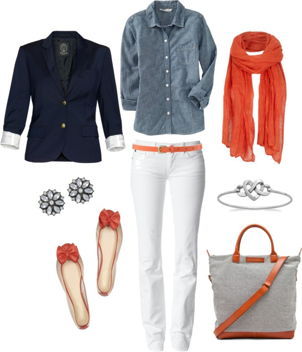 """Chambray, Orange and Navy"" by bluehydrangea White jeans navy jacket from Modern Society and denim shirt and coral floweral scarf"