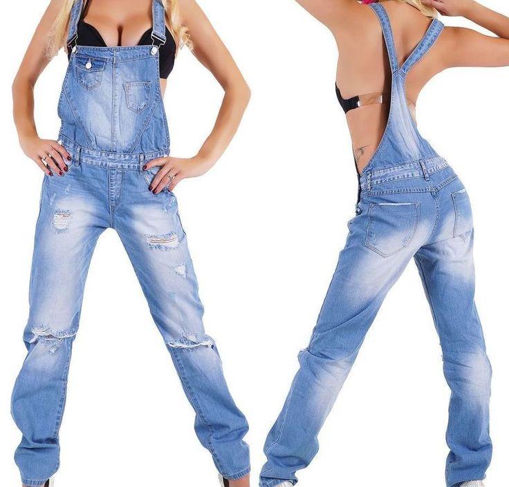 NEU Damen Latzhose Jeans Relaxed Boyfriend 34 36 38 40 42 XS S M L XL Overall
