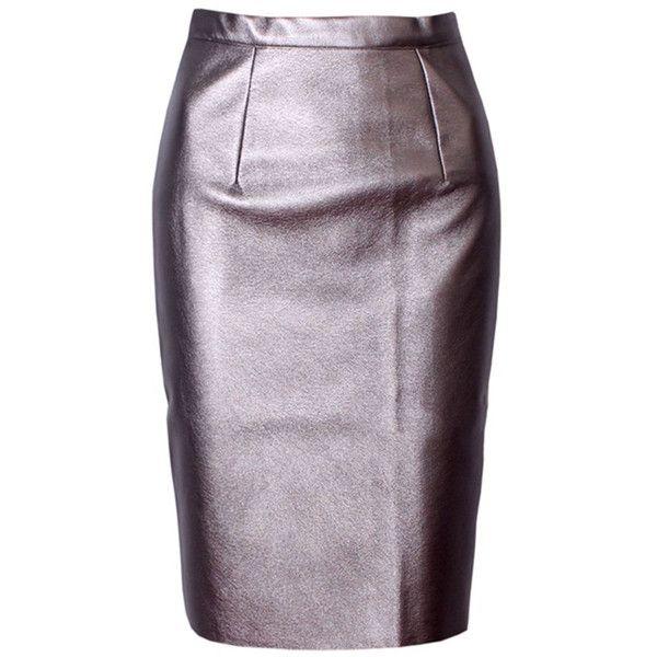 Plain PU Leather Slit Pencil Midi Skirt (78 PEN) ❤ liked on Polyvore featuring skirts, mid calf pencil skirt, pu leather skirt, leatherette skirt, pencil skirts and pleather pencil skirt