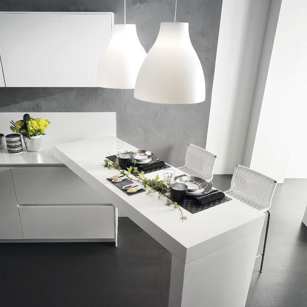 Creta Slim Fit. Open Collection. Architectonic settings. Design by R&D Center. #design #kitchen #white