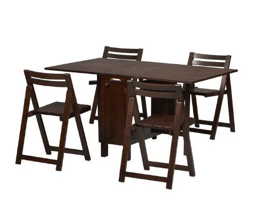 linon 5 piece space saver dining set in espresso at